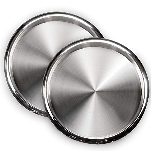 (DecorRack 2 Serving Trays Stainless Steel 12 Inch Round Bar Tray Silver Platters for Serving Cocktails and Beverages at Parties, Restaurants, Bars, and Catering, Serveware with Mirror Finish (2 Pack))