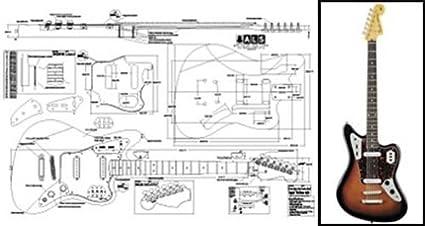 Amazon Com Plan Of Baritone Fender Jaguar Electric Guitar Full Scale Print Musical Instruments