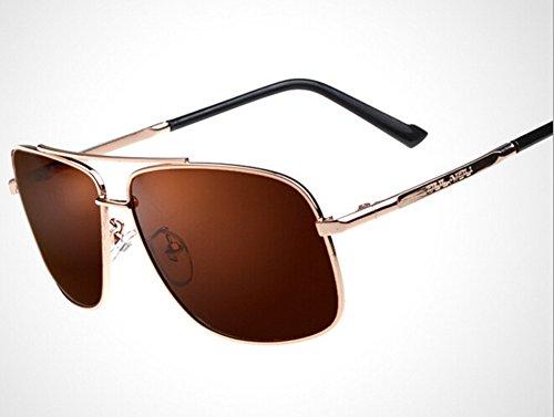 OULAIOU Men's Retro Mirrored Aviator Polarized Driver Sunglasses-Gold Brown