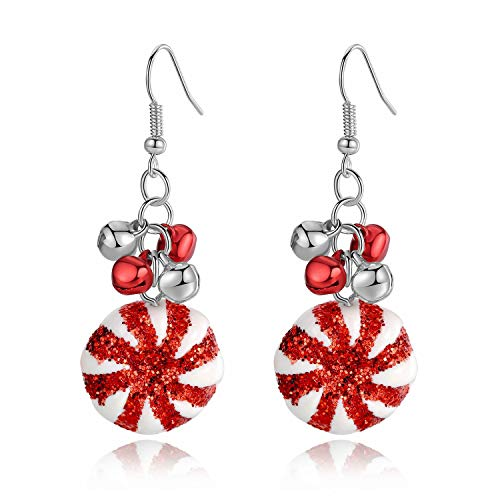 Handmade Jingle Bell Christmas Dangle Hook Earrings, Holiday Party Drop Earrings, Thanksgiving Earrings, Festival Gift, Cute Christmas Costume Jewelry for Women Girls, Xmas Jingle Bell Earrings