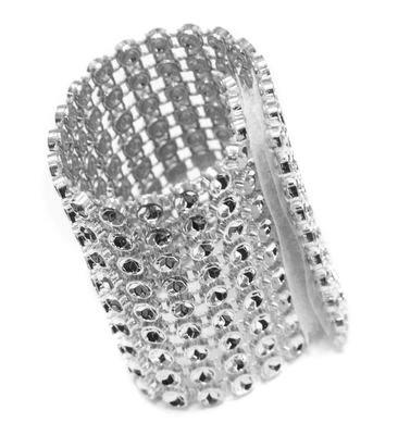 "10 Pk, Rhinestone Velcro Sash Clip / Napkin Ring Approx. 1.75""W x 4.50""L; Material: Plastic Decoration Mesh with diamond studded w/Velcro sewn in the back - Silver"