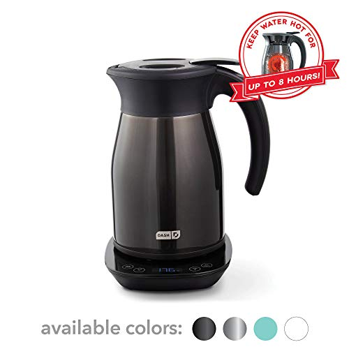 Dash Insulated Electric Kettle, Cordless 1.7L Easy Boil Hot Water Kettle - Black Stainless Steel