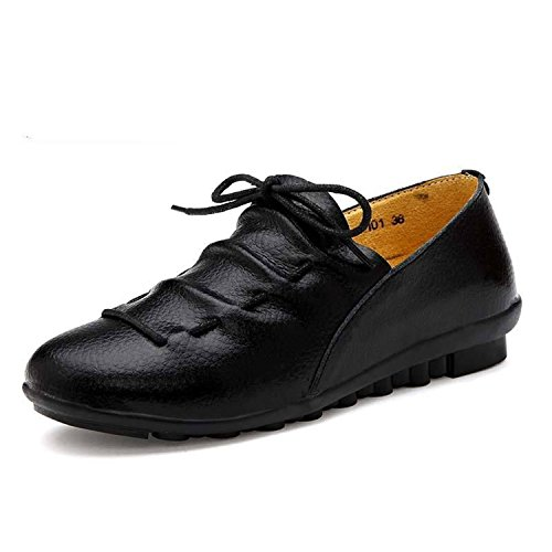 Women Casual Shoes Genuine Leather Flats Mom Shoes Size 35-41