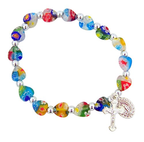 Crucifix Heart Bracelet - Colorful Heart Shaped Glass Bead Rosary Bracelet with Miraculous Medal Charm, 6 Inch