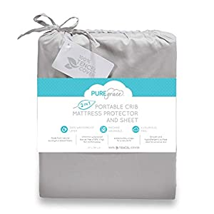 PUREgrace Playard Mattress Sheet and Protector in one – Made with All Natural Hypoallergenic Tencel, Waterproof Cover Protects and Fits Pack N Play, Mini Portable Crib Mattresses, or Co-Sleepers