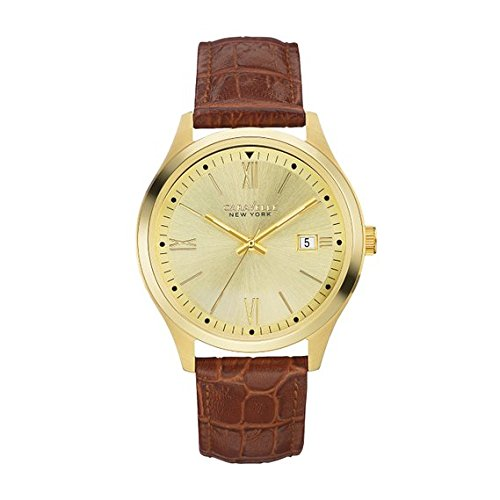 Caravelle New York Men's Quartz Stainless Steel and Leather Casual Watch, Color:Brown (Model: 44B109)