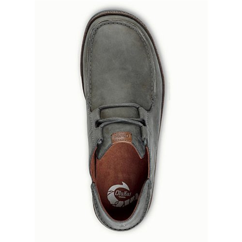 OluKai Ohana Cordones Nobuck Zapatos–Hombre Storm Grey/Dark Wood