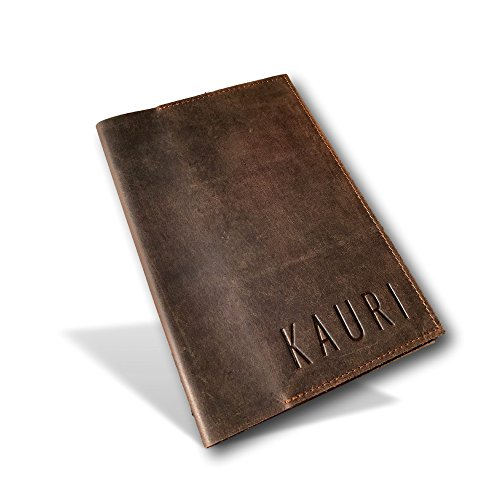 Kauri Leather Vintage Journal Cover - Refillable Genuine Leather Travel Journal and Book Protector and Organizer | Fits 9x6 Journals, Books, and Bibles (Leather Bible Cover Custom)