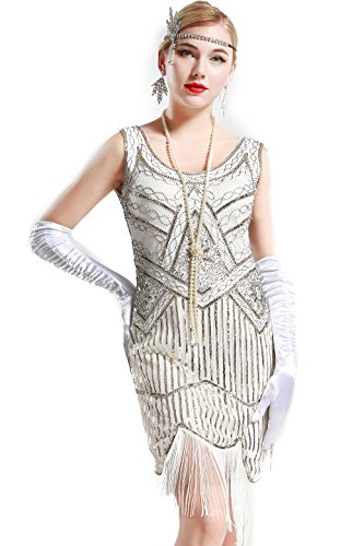 BABEYOND Women's Art Deco V Neck 20s Gastby Fringed for sale  Delivered anywhere in Canada