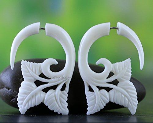 - Faux Gauge Earrings - Organic Carved Bone Earrings for Regular Pierced Ears - Handmade Jewelry