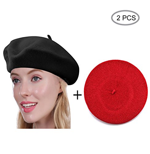 Raylarnia Beret Hat Of French Vintage Style  Solid Color Hat 15Colors  Elegant Soft Stretch Wool Cap  Lightweight Classic Boinas Winter Beanie Black Red