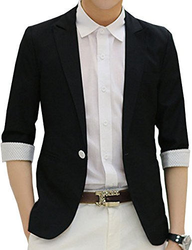 S&S Men's Casual Convertible 3/4 Sleeve One-Button Suit Separates Jacket Blazer