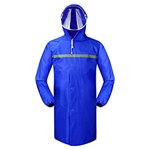 YSNRH Rain Wear Long Section Raincoat Waterproof Male and Female Adult Hiking Single Siamese Outdoor Thickening Windbreaker Poncho Rainy Season,Snowy Day,Outdoor Events (Color : Blue, Size : L)