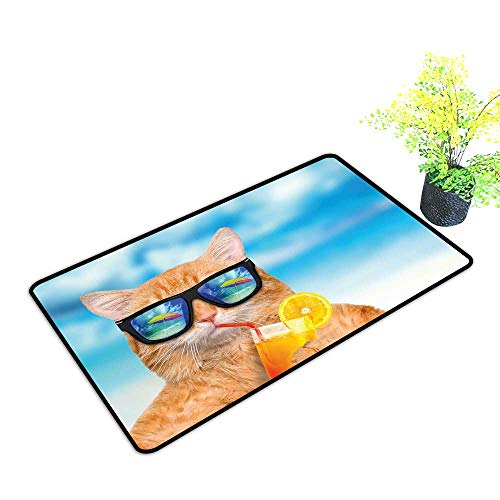 Zmstroy Printed Door mat Funny Cat Wearing Sunglasses Relaxing Cocktail in The Sea Background Summer Kitty Image W16 xL20 Personality Blue Ginger