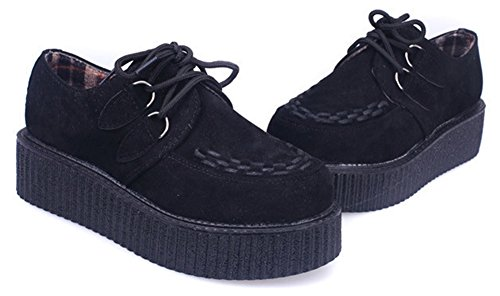Wealsex damen Plateau schuhe low top Sneaker gothic punk creepers schuhe Schwarz