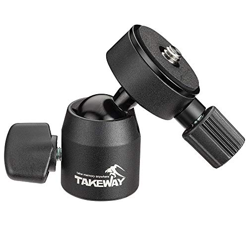 """TAKEWAY T-B03 Mini Ball Head, 1/4""""or 3/8"""" Screew Hole, Max load 6lbs/3kg, Quick Release Plate, 360°Degrees, Metal Build Quality, Digital Camera/GoPro/Monopod/Slider/Compact DSLR/Cell Phone, Most Elect"""