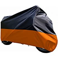 "tokept Negro & Naranja Sol motocicleta cubierta impermeable (XXXL) .116""Fit para Honda Kawasaki Yamaha Suzuki Harley Davidson, Negro y anaranjado"
