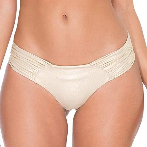 Luli Fama Women's Cosita Buena Ruched Back Bikini Bottom, Gold Rush, L
