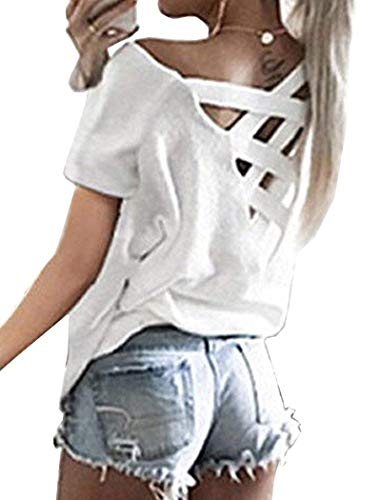 Open Back Criss Cross Shirts for Women White Round Neck Casual Summer Blouses Tops M