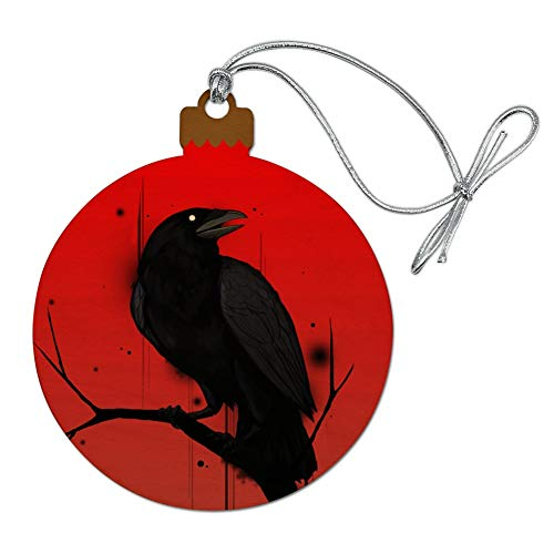 GRAPHICS & MORE Crow on Branch Wood Christmas Tree Holiday Ornament