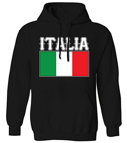 Bold Italia Flag Lettering Italy Italian National Pride Mens Hoodie Sweatshirt (Black, Large)