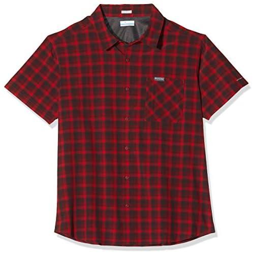 chollos oferta descuentos barato Columbia Triple Canyon Camisa de Manga Corta Hombre Rojo Mountain Red Mini Tonal Plaid S