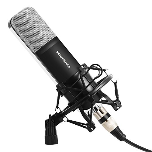 Professional Condenser Microphone, SOONHUA Music Studio MIC Podcast Recording Microphone Kit With Stand Shock Mount for PC Laptop Computer Broadcasting YouTube Vlogging Skype Chatting Gaming by SOONHUA