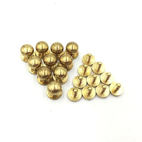 10- PACK 8mm Sam Browne Solid Brass Round Button Studs,Leather Craft Belt CHICAGO SCREWS SOLID BRASS Studs Nail Rivets DIY for Belt Wallet Handbag (8MM)