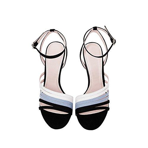 con Sandalias 35 JP Sexy EU Verano Cuero Europa 22 Unidos 5cm Femeninas US Punta De UK Abierta Tamaño Zapatos Estados Y 5 JIANXIN De Sandalias 3 Tacón De De Alto PBxdpvp