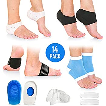 Plantar Fasciitis Foot Pain Relief 14-Piece Kit - Premium Planter Fasciitis Support, Gel Heel Spur & Therapy Wraps, Compression Socks, Foot Sleeves, Arch Supports, Heel Cushion Inserts & Heel Grips