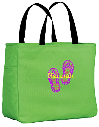 Personalized Embroidered Flip Flop Sport Essential Tote Bag (Bright Lime)
