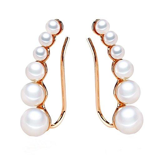 Ear Crawler Earrings Climbers Pearl Cuff Earrings Pin Vine Wrap Studs Jewelry for Women (Rose gold)