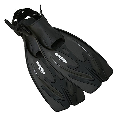 Deep Blue Gear Current Fins for Diving, Snorkeling, and Swim, Adult Size Medium/Large (Men's 7-9, Women's 8-10) , Black (Deep Scuba Diving)