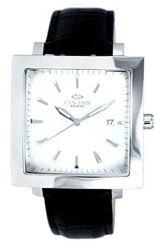 "Oniss Mens ""Rigid"" Stainless Steel & Leather Watch-Silver tone/Silver dial/Black strap"
