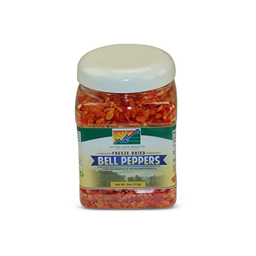 Mother Earth Freeze Dried Bell Peppers (Red) (One Full Quart Plastic Jar)