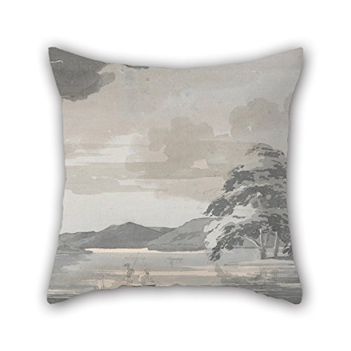 Paisley Needlepoint Brown (Pillowcover Of Oil Painting Paul Sandby - Lake Scene For Home Theater Kids Room Dining Room Bf Kids Room 20 X 20 Inches / 50 By 50 Cm(twin Sides))