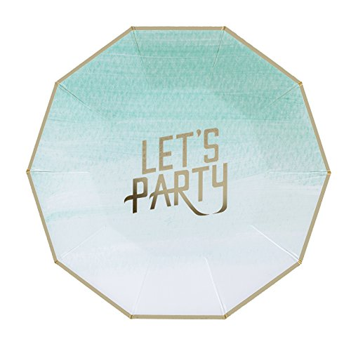 """Fire and Creme Let's Party Foiled Paper Plates Gold And Ombre Watercolor 9 x 9"""" - Pack of 8 (Large)"""