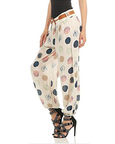 Beige Imprime La Pantalon Pantalon Taille Femme A Floral Stretch Bouffant U08OqxzI