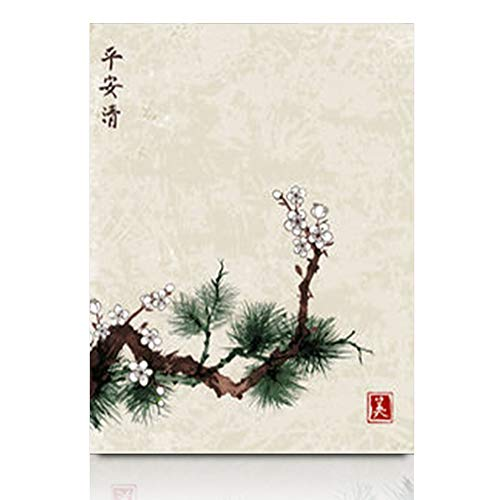 Aika Designs Canvas Prints Wall Art Plant Sakura Cherry Tree Blossom Oriental Green Pine Japanese Nature Japan 12 x 12 Inches Modern Painting Decor Stretched Wooden Framed Wrapped Artwork