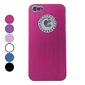 Bkjhkjy Solid Color Brushed Aluminum Hard Case with Diamond Frame Hole for iPhone 5 (Assorted Colors) , Rose