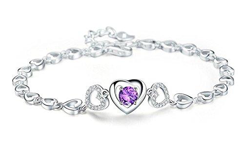 Womens Sterling Silver Feminine Purple Romantic Triple Hearts Interlocking Heart Bracelet, (Interlocking Hearts Bracelet)