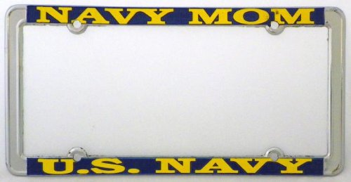 Navy Mom US Navy Thin Rim License Plate Frame (Chrome Metal)