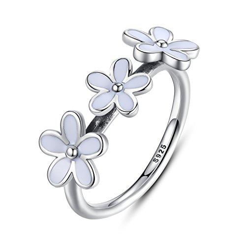 BAMOER 925 Sterling Silver Ring Darling Three Daisy Flower Women Wedding White Enamel Jewelry Size 7