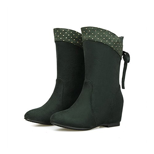 Closed Surface Pull Boots Allhqfashion Fabric Toe Kitten Green Heels Round Solid Women's on qwwPzxX8