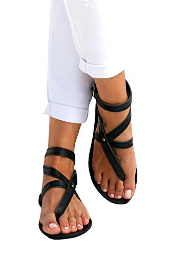 Seraih Womens Flip Flop Bevelled Strap Flat Sandals Boho Criss Wrap Beach Gladiator Fisherman Shoes by Seraih