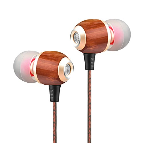 Simptech Wood Headphones Earbuds With Microphone - Noise Cancelling In Ear Earphones,HIFI Stereo Bass,Crystal Clear Sound,Ergonomic Comfort-Fit Design Best for Iphone and Android Phones(M300)