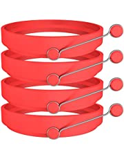 Newthinking Silicone Egg Ring, 4 Pack Non-Stick Egg Cooking Rings with Handle for Frying McMuffin or Shaping Eggs