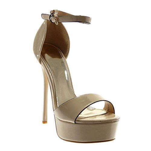 Caviglia alla Moda Tacco Scarpe Beige Tanga cm Verniciato Decollete Sandali Angkorly con Cinturino con 5 Tacco 14 Donna Stiletto Zeppe Stiletto Alto FPqvw