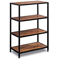 GreenForest Industrial Bookcase 4 Tier Rustic Bookshelf Wood and Metal for Home and Office Walnut