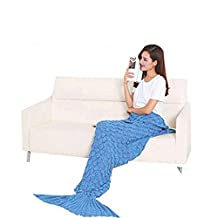 Knit Mermaid Sofa Blanket, Warm And Soft Knit Mermaid Blanket Apply Home Adult And Children Comfortable Fish-Scale Pattern Mermaid Blankets (Blue)